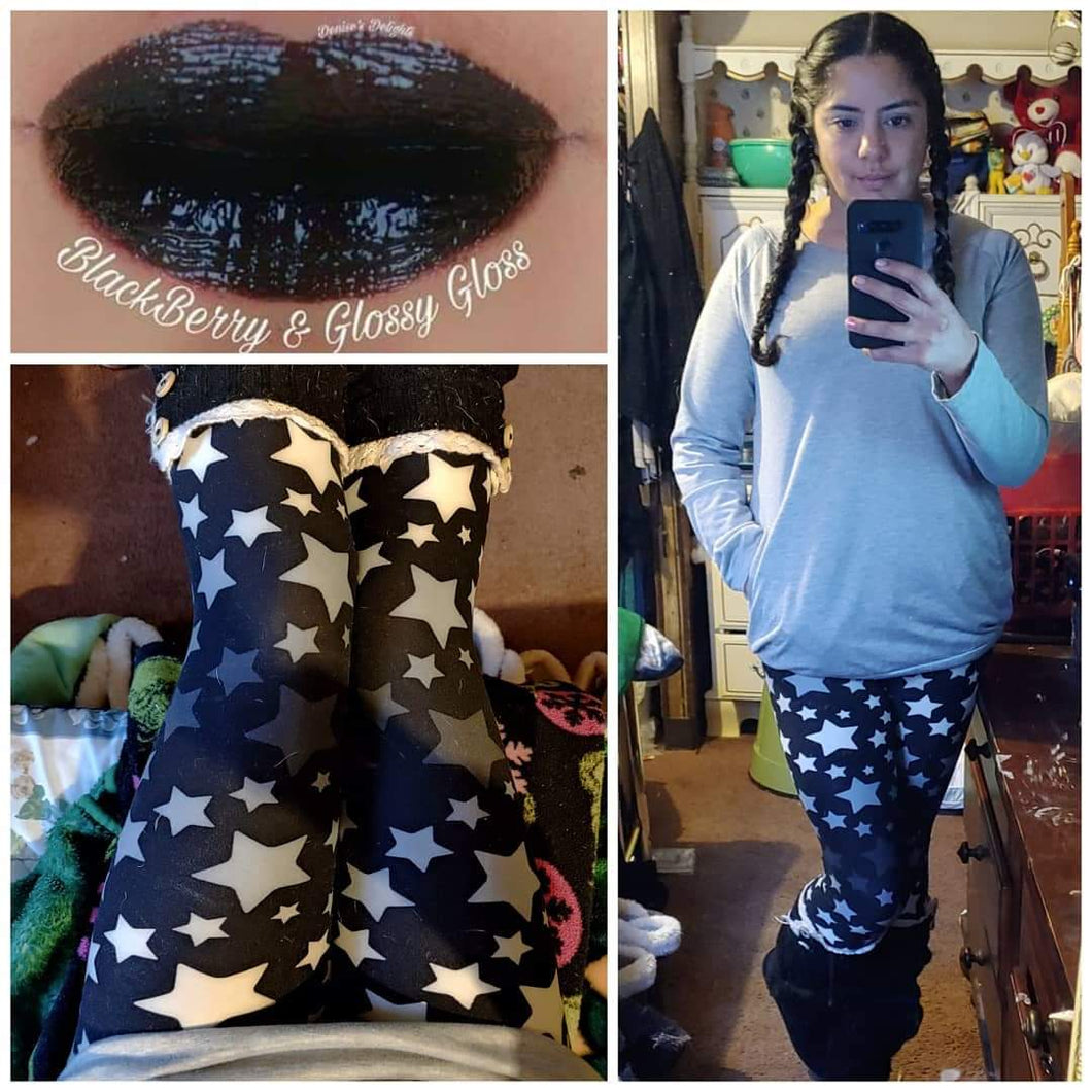 One Size Grayscale Ombre Starry Leggings