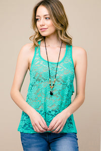 Rose Lace Front Tank Top - tops