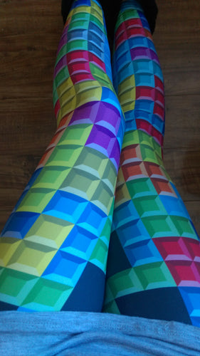 One Size Tetris Screen Printed Leggings