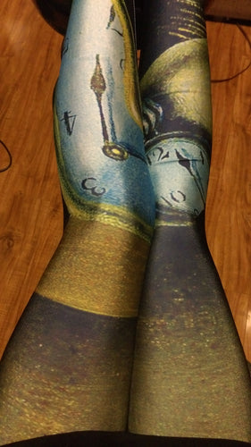 Screen Printed Melting Clock Leggings