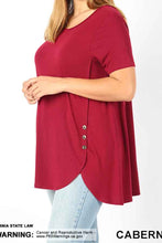 Plus Button Dolphin Hem Tunic - tops