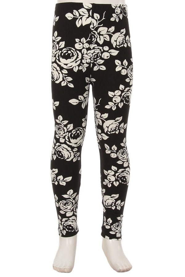 Kids Black & White Rose Leggings