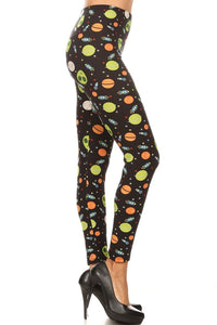 One Size Spaceship & Alien Print Leggings
