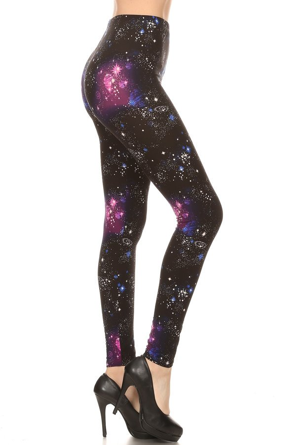 One Size Pink, Blue & Purple Galaxy Print Leggings