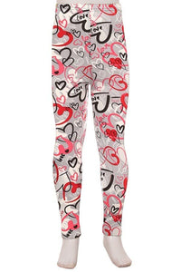 Kids Size Grey Graffiti Heart Leggings