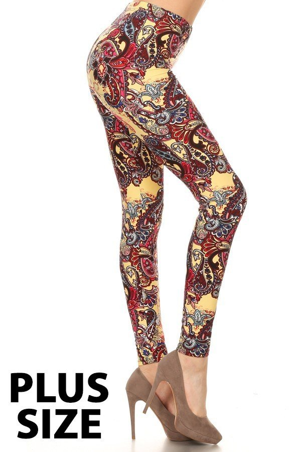 Plus Size Burgandy Paisley Print on Yellow Background