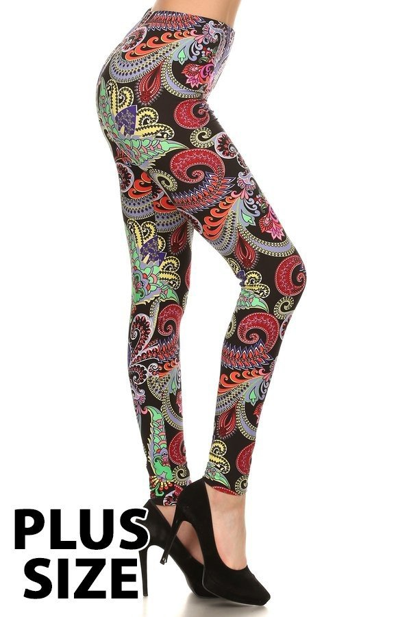 Plus Size Burgandy, Mint & Orange Paisley Print Leggings