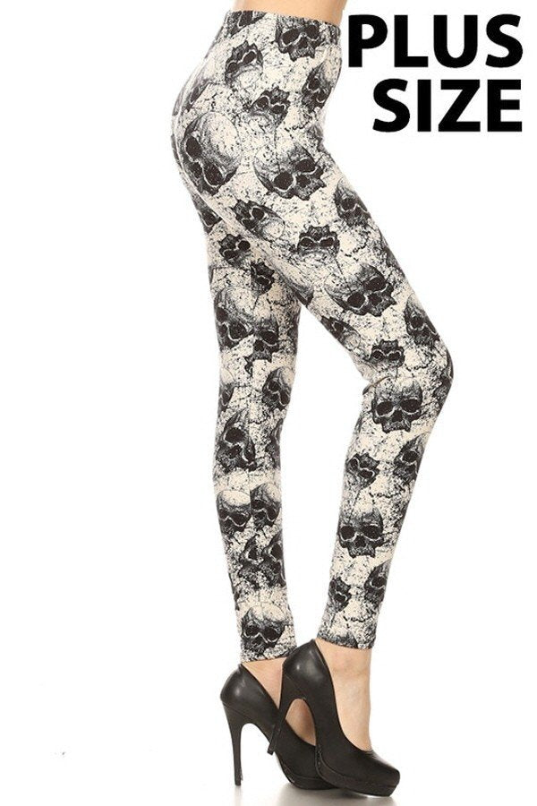Plus Size Stone Skull Print Leggings