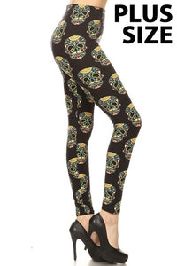 Plus Size Fluorescent Sugar Skull Print Leggings
