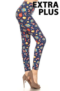 Extra Plus/Queen Holiday Ornament, Present & Candy Cane Print Leggings