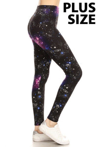 Plus Size Pink, Purple & Blue Galaxy Print Leggings