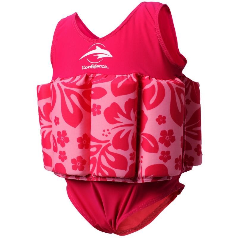 Floatsuit - pink hibiscus  2-3yrs