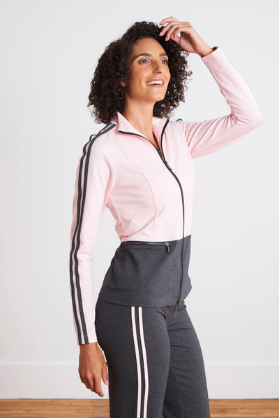 Alina Athleisure Color Block Racer Stripe 2 PC Set (Blush Pink/Charcoal) - Marolli