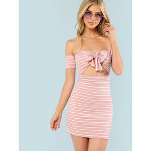 Knot Striped Ribbed Dress