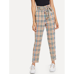 Frill Trim Self Belted Plaid Pants