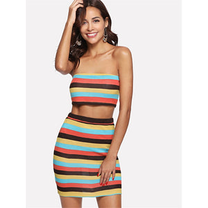 Striped Crop Bandeau Top & Fitted Skirt Set