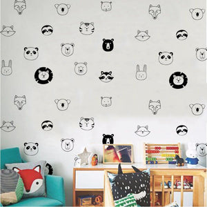Animal Face Wall Stickers