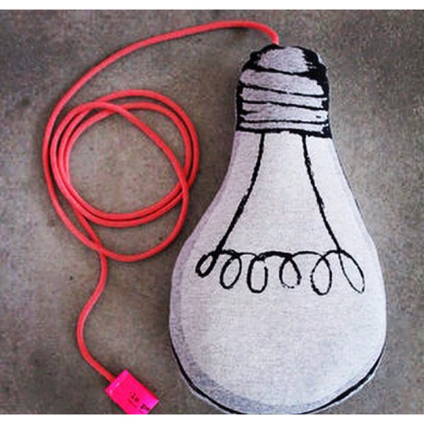 Glow in the dark light bulb cushion. Great for kids bedroom or gift idea.