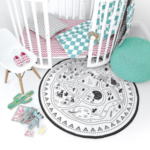 Cute, round adventure park play mat for kids bedroom. Black and white. Shows road and lake, campsite, trees, teepee, nature. Great for kids and babies bedroom, play room, rumpus room. Rug, mat, carpet, flooring. Scandi decor.