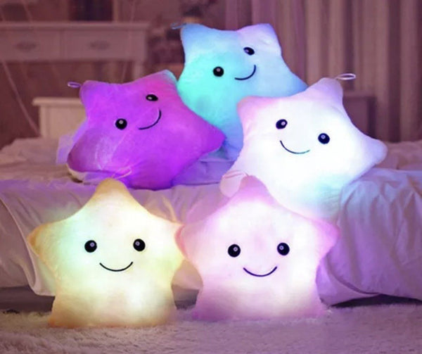 Luminous LED Star Cushion. Decor for cildrens bedroom available at friday kids co.