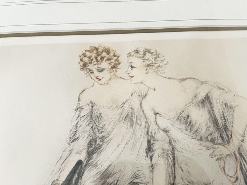 Louis ICART - Coursing III - 1930 - Dame aux levriers - Lithographie