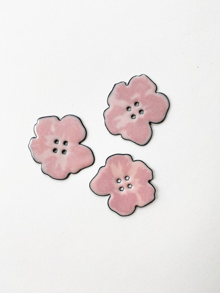 Small Pink Enamel Hibiscus Flower Button