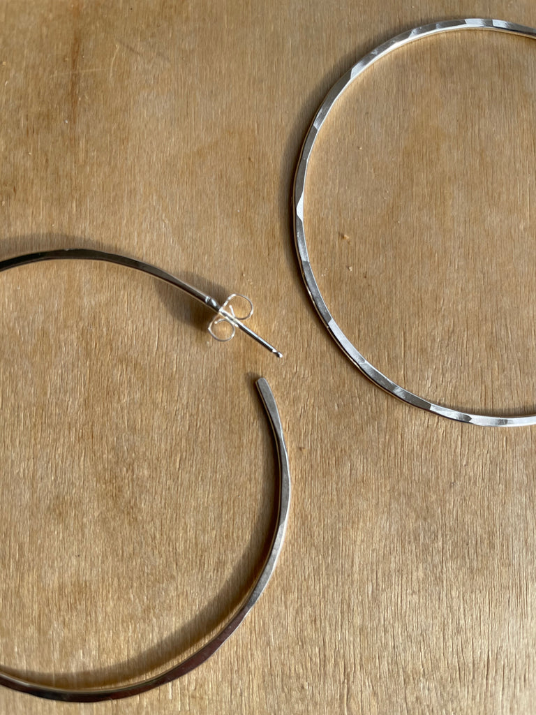 Large Silver Hammered Hoops