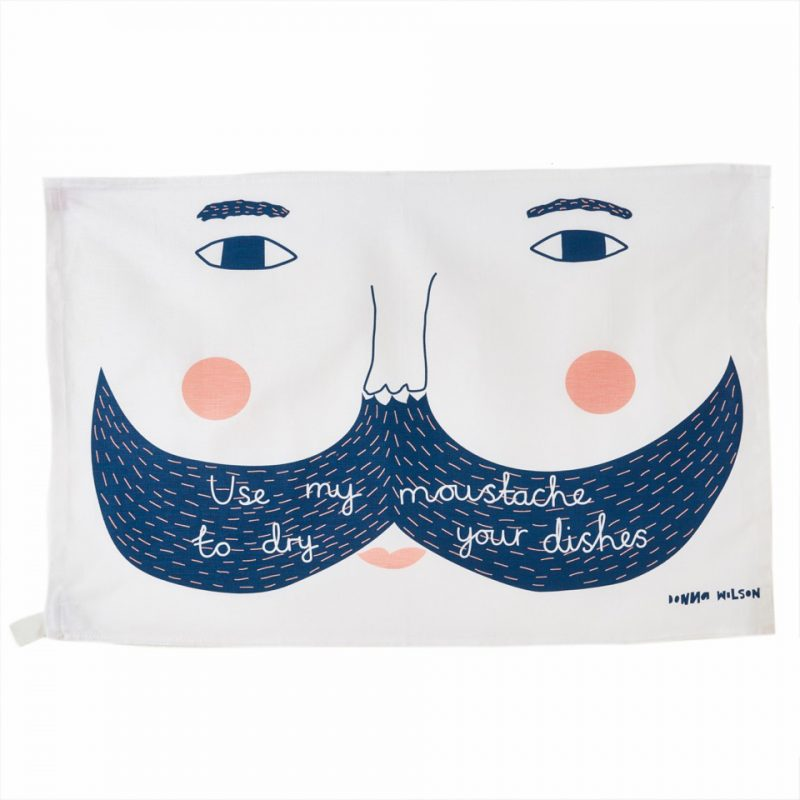 Use My Moustache Tea Towel - theobservatory.shop Donna Wilson - manos