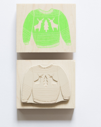 Winter Sweater Rubber Stamp - theobservatory.shop Yellow Owl Workshop - manos