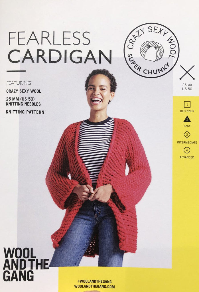 Fearless Cardigan Pattern - theobservatory.shop Wool and the Gang - manos