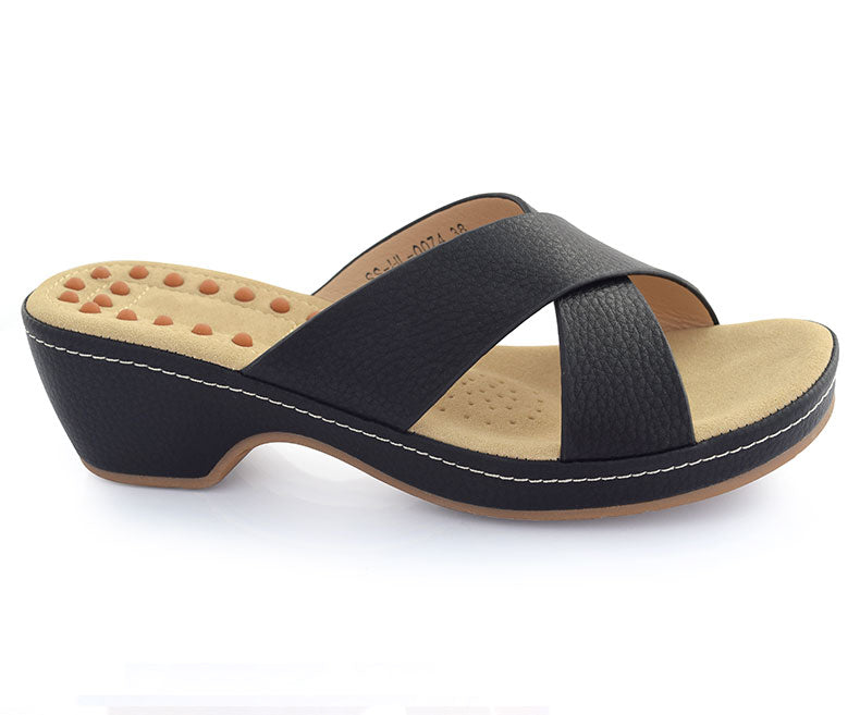 SS-HL-0074-Women's Shoes Casual\Slippers\Wedge-Black