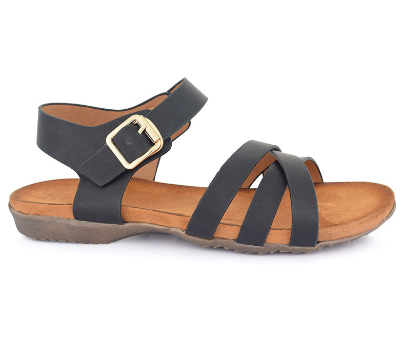SS-SD-0058-Women's Shoes\Sandals\Casual\Flat-Black
