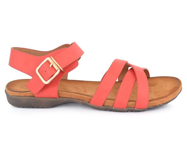 SS-SD-0058-Women's Shoes\Sandals\Casual\Flat-Red