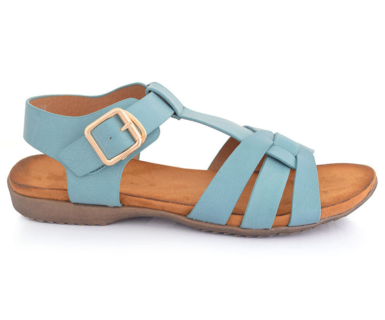 SS-SD-0059-Women's Shoes\Sandals\Casual\Flat-Turquoise