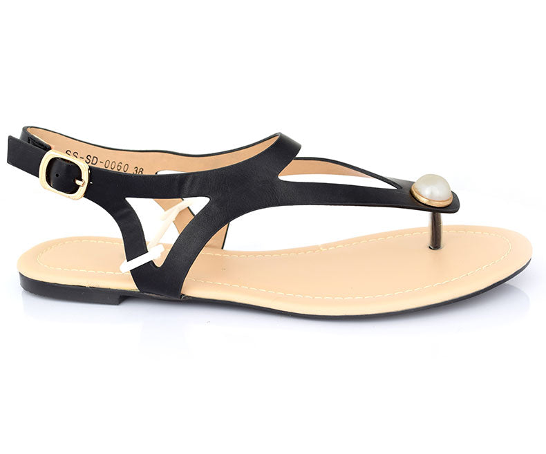 SS-SD-0060-Women's Shoes\Sandals\Casual\Flat-Black