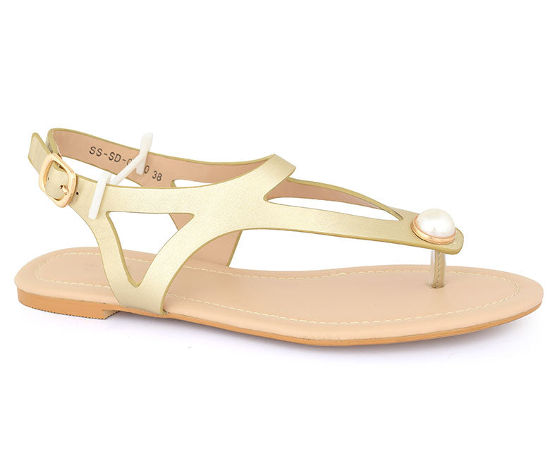 SS-SD-0060-Women's Shoes\Sandals\Casual\Flat-Golden