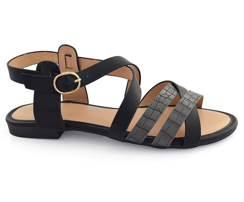 SS-SD-0063-Women's Shoes\Sandals\Casual\Flat-Black