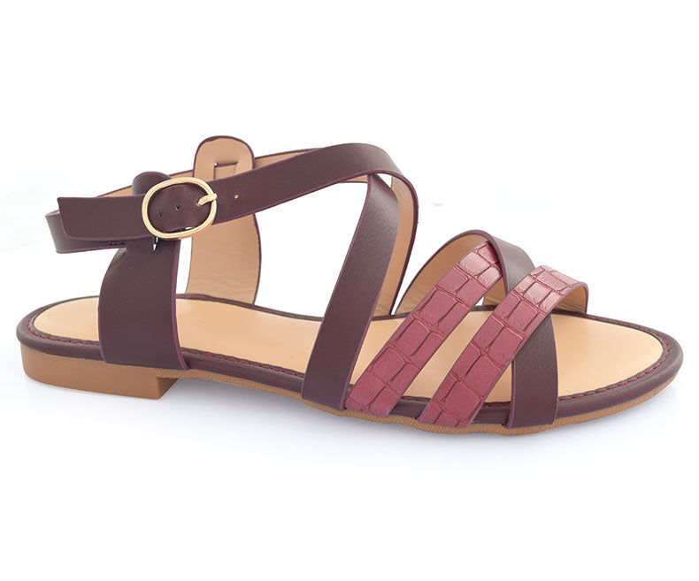 SS-SD-0063-Women's Shoes\Sandals\Casual\Flat-Maroon