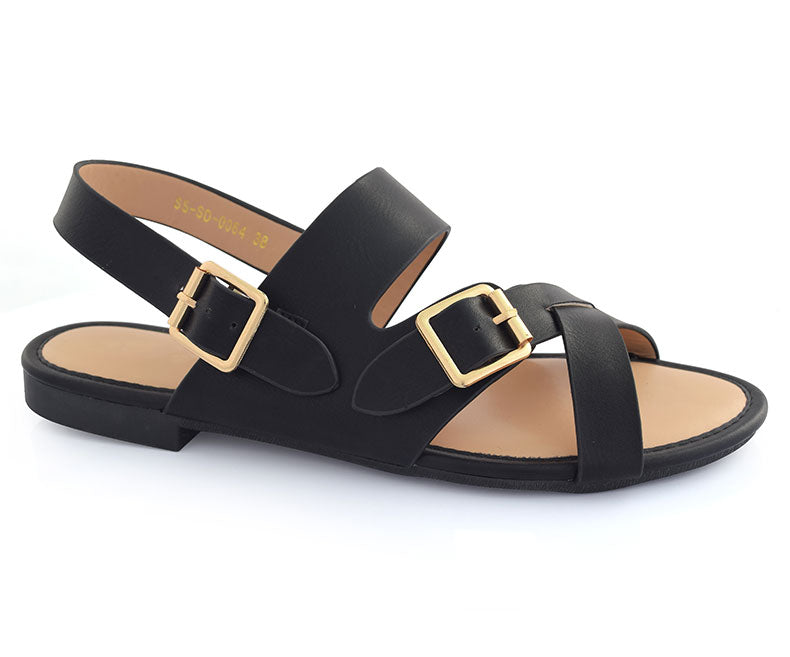 SS-SD-0064-Women's Shoes\Sandals\Casual\Flat-Black