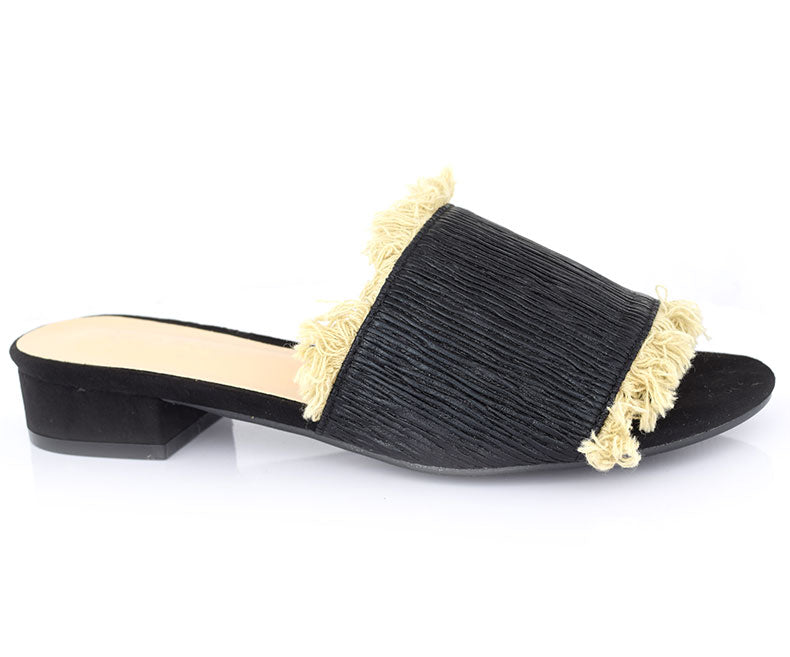 SS-HL-0116-Slippers for Women\Casual\Flat Heel-Black