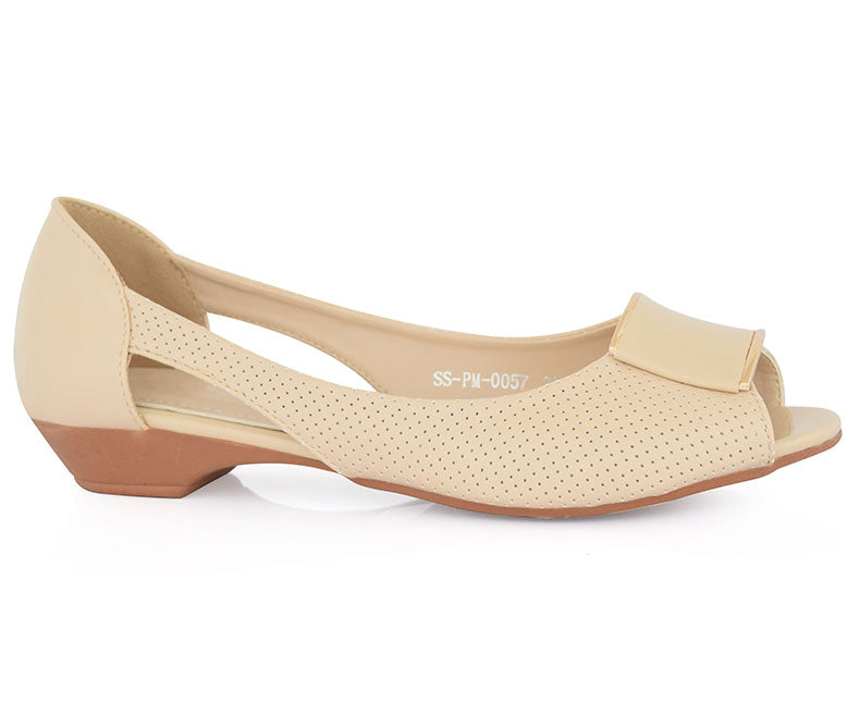 SS-PM-0057-Women's Shoes\Casual\Peep Toe Pumps-Beige