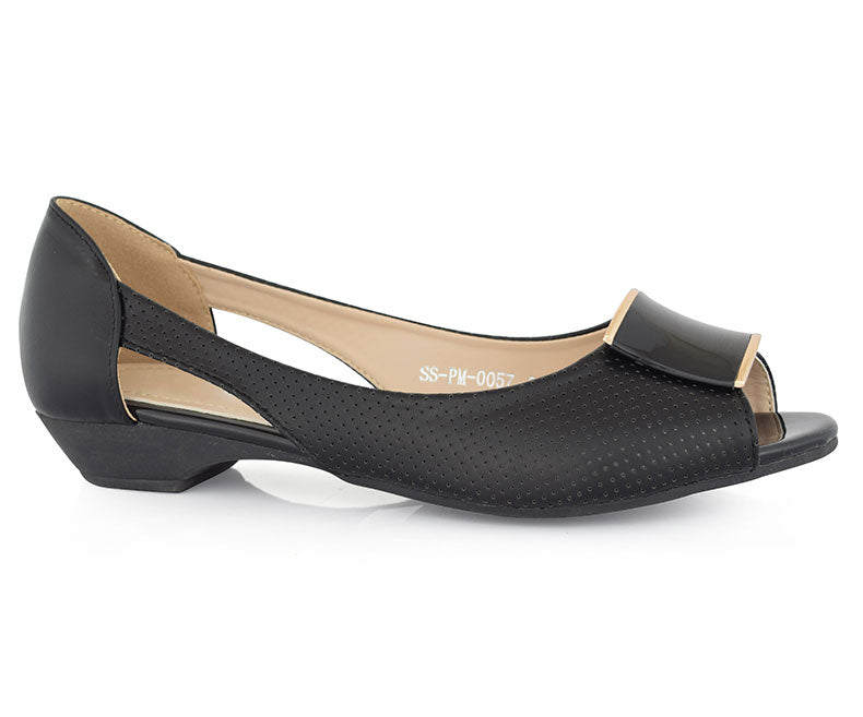 SS-PM-0057-Women's Shoes\Casual\Peep Toe Pumps-Black