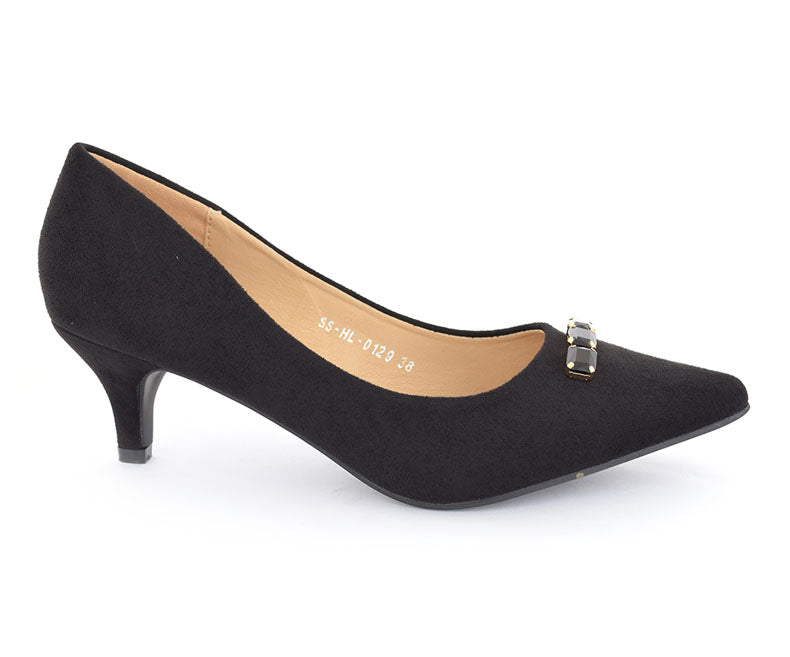 SS-HL-0129-Women's Formal Shoes\Court\Kitten Heel\Velvet-Black
