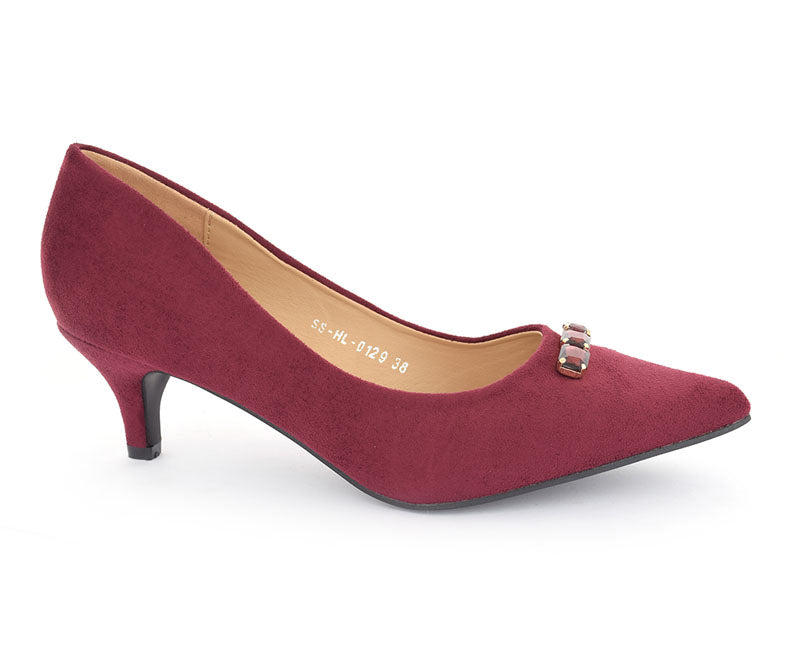 SS-HL-0129-Women's Formal Shoes\Court\Kitten Heel\Velvet-Maroon