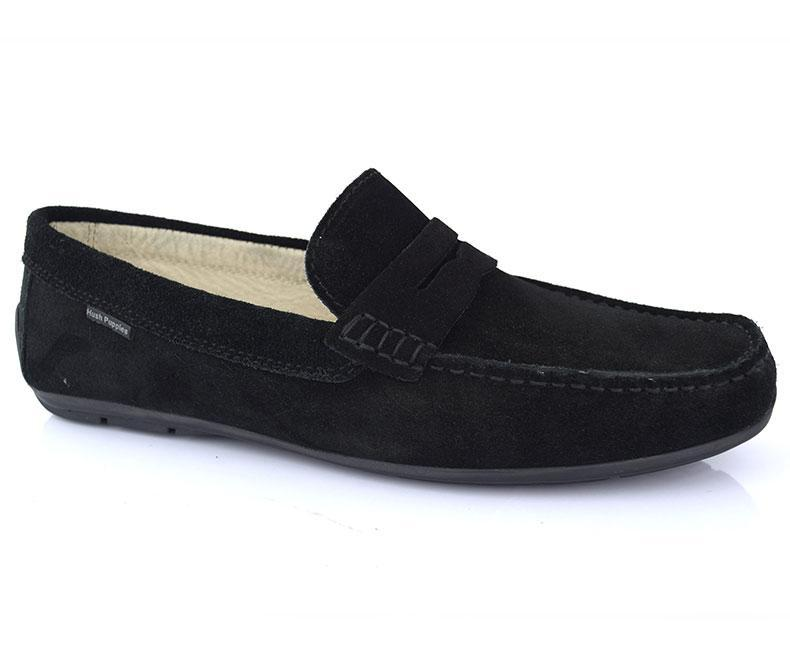 Cool walk- Black Pleasant Stunning Moccasins for Men by Hush Puppies data-zoom=