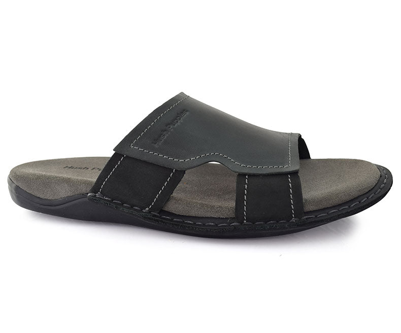 CAMBELL GRADY- Black Stylish Comfortable Slippers for Men by Hush Puppies data-zoom=