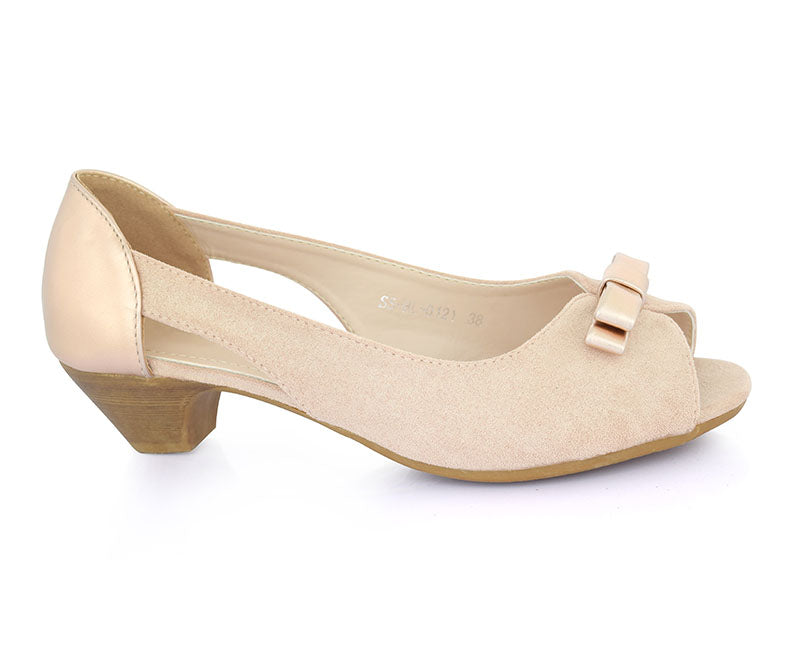 SS-HL-0121-Women's Shoes\Casual\Peep Toe\Short Heel-Champagne