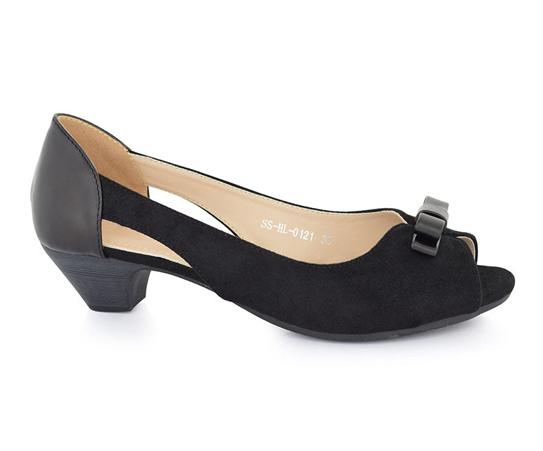 SS-HL-0121-Women's Shoes\Casual\Peep Toe\Short Heel-Black