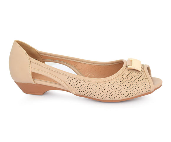 SS-PM-0074-Women's Shoes\Casual\Peep Toe\Pumps-Beige