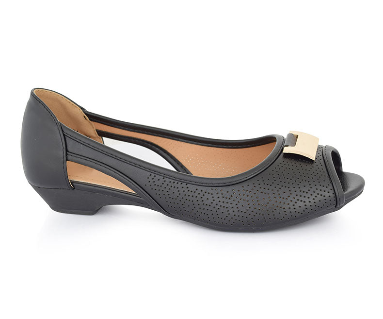 SS-PM-0074-Women's Shoes\Casual\Peep Toe\Pumps-Black